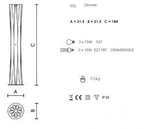 3x 75 Watt, Designerleuchte/Standleuchte, 185,00 cm, 31,50 cm, Fußdimmer