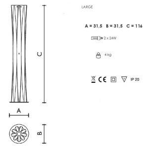 2x 75 Watt, Designerleuchte/Standleuchte, 116,00 cm, Schnurzwischenschalter, 31,50 cm