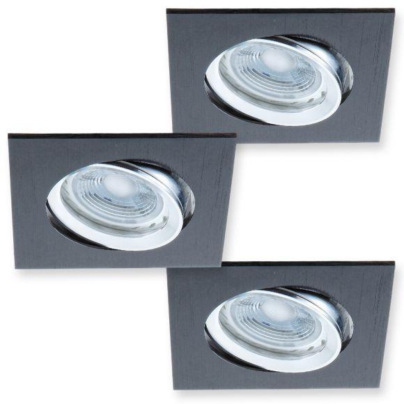 led decken einbaustrahler 3er set metall schwarz wohnlicht. Black Bedroom Furniture Sets. Home Design Ideas