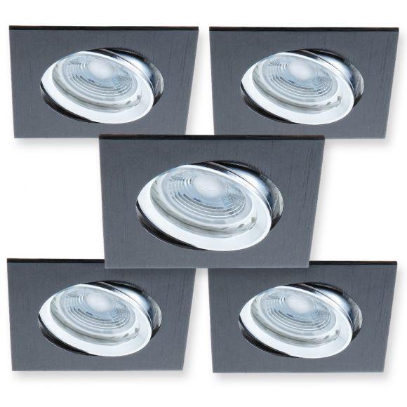 led einbaustrahler 5er set metall schwarz inklusive gu10 led leuchtmittel 5 watt 346. Black Bedroom Furniture Sets. Home Design Ideas