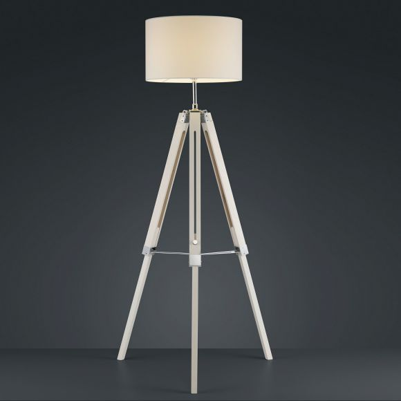 moderne stehleuchte holzfu und stoffschirm in wei wohnlicht. Black Bedroom Furniture Sets. Home Design Ideas