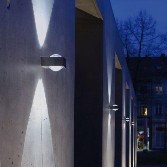 led wandleuchte edelstahl in rund oder eckig led 2x 3watt wohnlicht. Black Bedroom Furniture Sets. Home Design Ideas