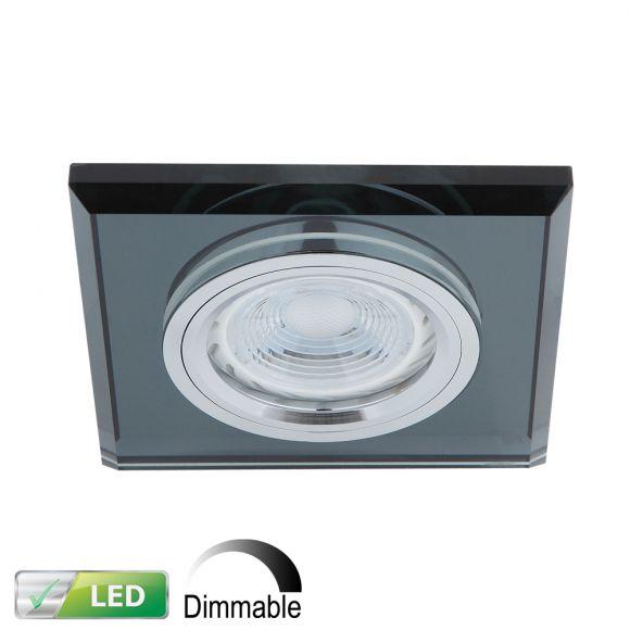 dimmbarer einbaustrahler mit glasrahmen eckig schwarz inklusive led leuchtmittel 1 x gu10. Black Bedroom Furniture Sets. Home Design Ideas