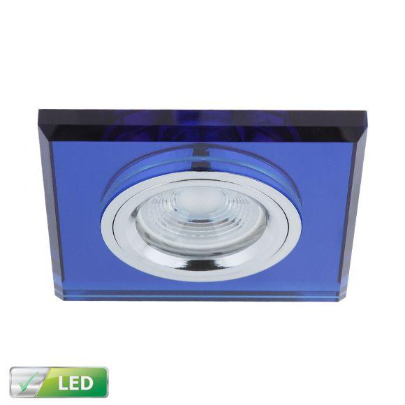 einbaustrahler mit glasrahmen eckig blau inklusive led leuchtmittel 1 x gu10 5 watt. Black Bedroom Furniture Sets. Home Design Ideas