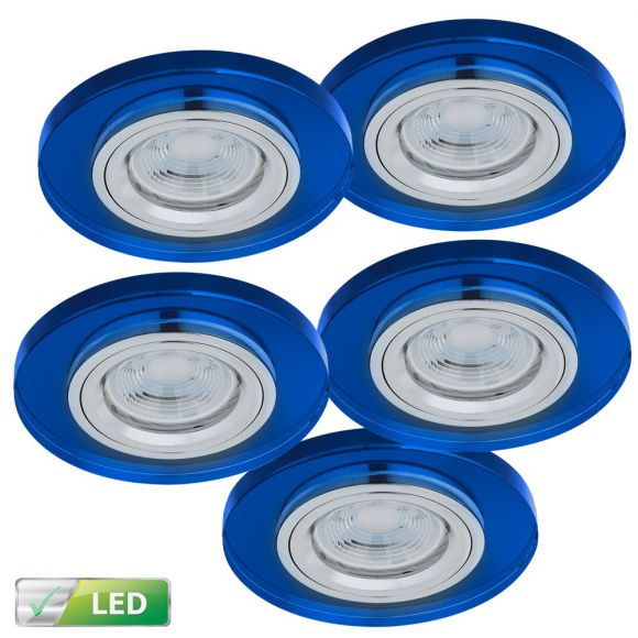 einbaustrahler mit glasrahmen 5er set blau rund inklusive led leuchtmittel 5 x gu10 5. Black Bedroom Furniture Sets. Home Design Ideas