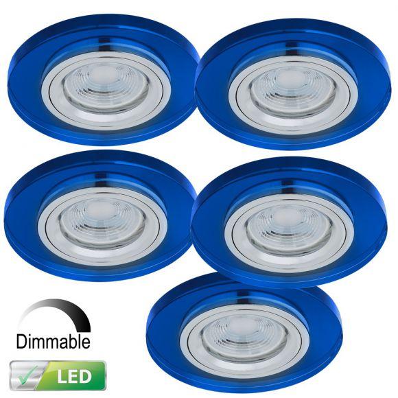 einbaustrahler mit glasrahmen dimmbar 5er set blau rund inklusive led leuchtmittel 5 x. Black Bedroom Furniture Sets. Home Design Ideas