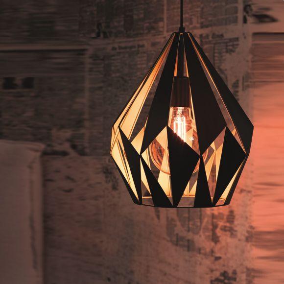 pendelleuchte carlton schwarz mit silber oder kupfer wohnlicht. Black Bedroom Furniture Sets. Home Design Ideas