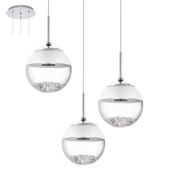 3 flammige led pendelleuchte rund mit glaskugeln und kristallen wohnlicht. Black Bedroom Furniture Sets. Home Design Ideas