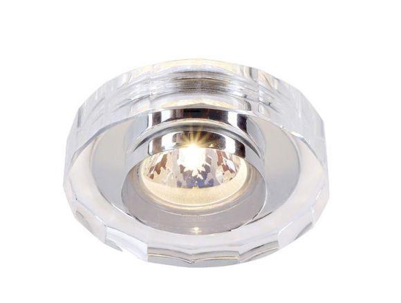 Deckeneinbauleuchte CRYSTAL aus Kristallklarglas, rund