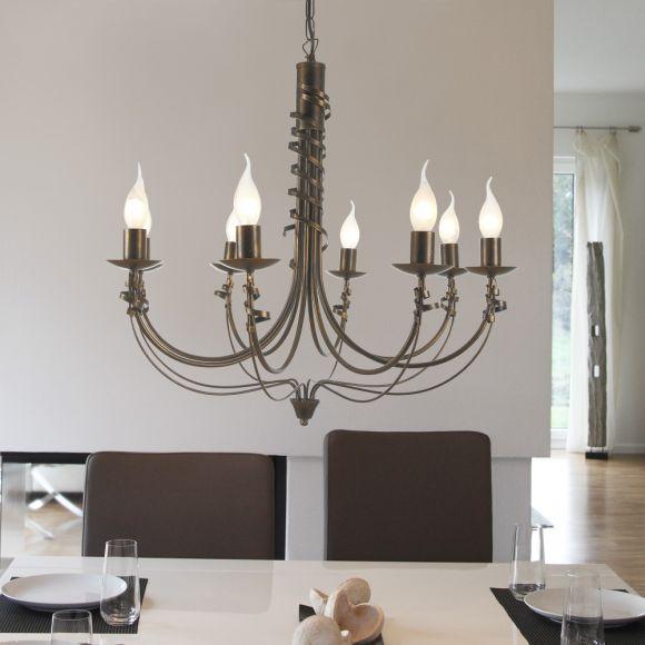kronleuchter im landhaus stil 8 flammig metall antik. Black Bedroom Furniture Sets. Home Design Ideas