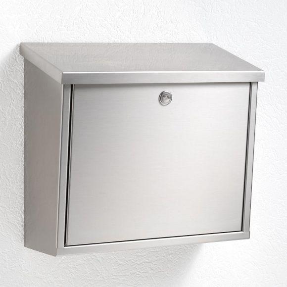 briefkasten aus edelstahl mit integriertem zeitungsfach. Black Bedroom Furniture Sets. Home Design Ideas