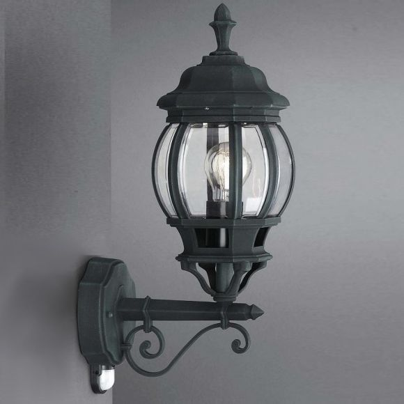 klassische aussenleuchte in 2 farben mit bewegungsmelder wohnlicht. Black Bedroom Furniture Sets. Home Design Ideas