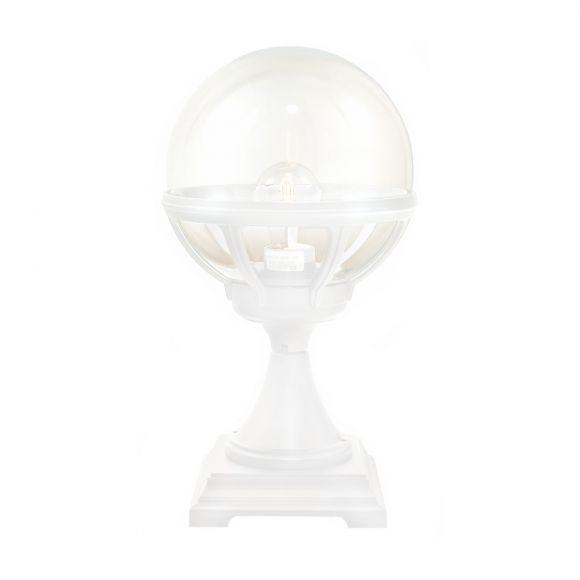 Klassische Aussensockelleuchte in 3 Farben mit getöntem Kunststoffglas in Kugelform