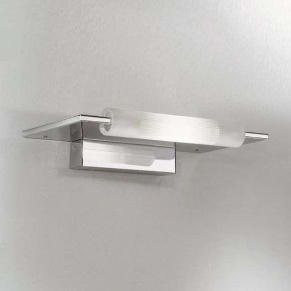 Wandleuchte in Chrom mit satiniertem Glas - inklusive 1x 80Watt - ideal als Spiegelleuchte!