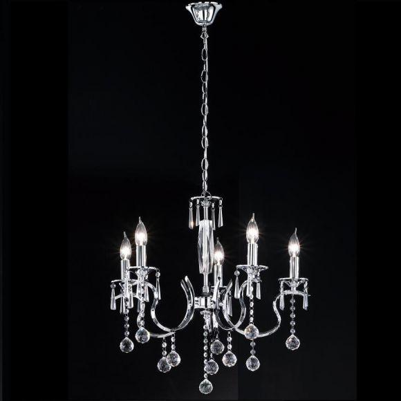 Krone Diamant, klare Glasprismen , 60cm, 5 flammig, exklusive Leuchtmittel