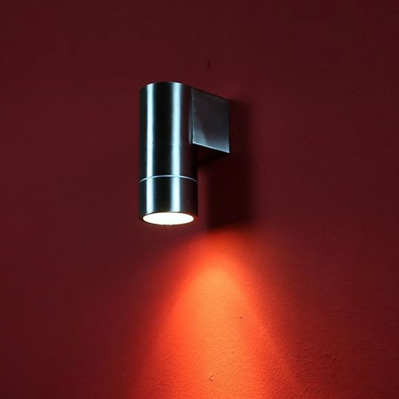 led aussenwandleuchte ip44 edelstahl geb rstet inklusive gu10 led 7w wohnlicht. Black Bedroom Furniture Sets. Home Design Ideas