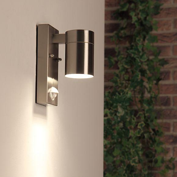 aussenwandleuchte mit bewegungsmelder aus edelstahl wohnlicht. Black Bedroom Furniture Sets. Home Design Ideas