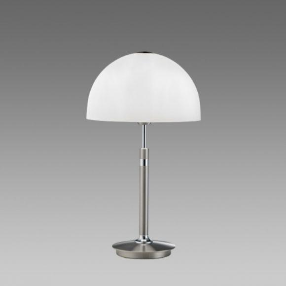 B+M Tischleuchte aus massivem Messing Nickel-matt mit Chrom, Glasschirm weiß, Höhe 36cm silber/weiß, Nickel-matt, Chrom
