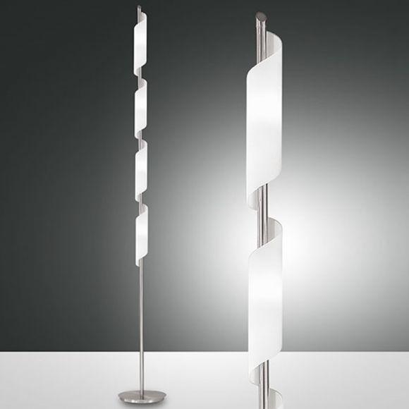 Stehleuchte mit geschwungenem Glas, Fußdimmer, 177 cm
