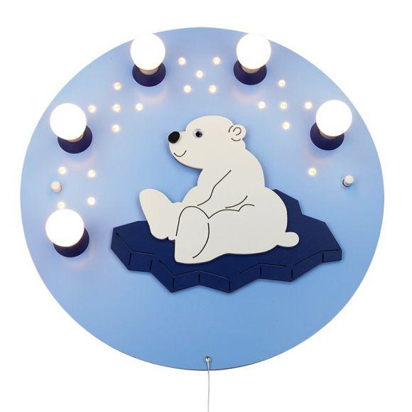 Süße Decken- und Wandleuchte für das Kinderzimmer - Eisbär - mit Serienzugschalter und LED-Sternhimmel