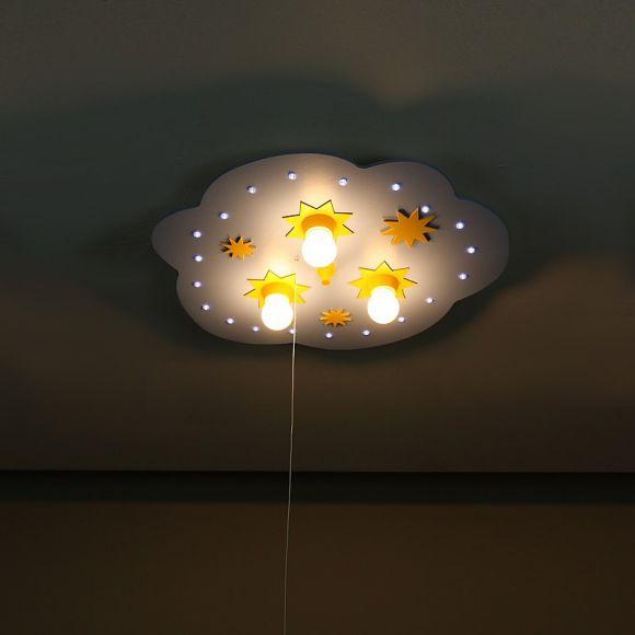 Kleine Wolke in hellblau und gelb mit LED- Sternenhimmelfunktion - Serienschaltung über Zugschalter