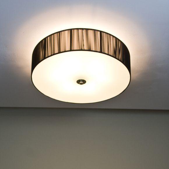 runde deckenleuchte mit schwarzem schirm in fadenoptik d 60cm wohnlicht. Black Bedroom Furniture Sets. Home Design Ideas