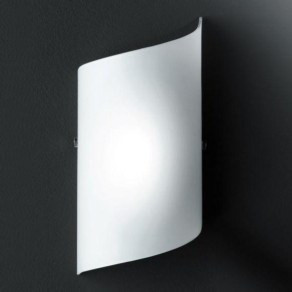 Wandleuchte in nickel matt mit weißem Glas, 1x40 Watt