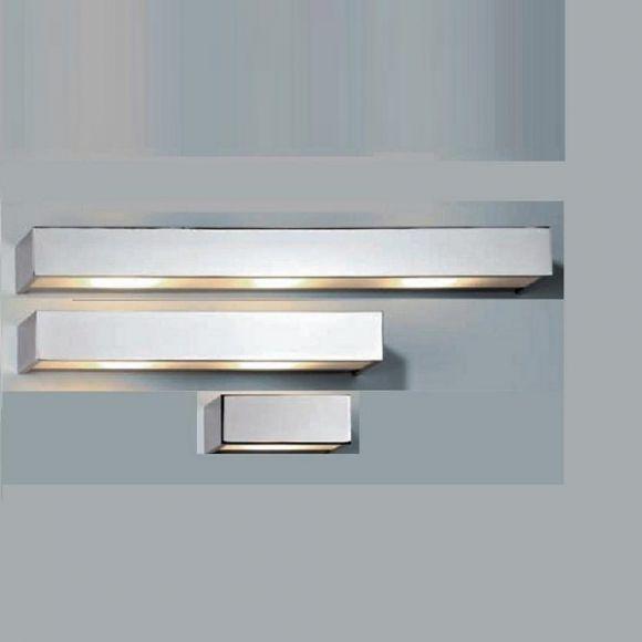 Wandleuchte Box  - in chrom, nickel oder silbermatt,  mit Opalglas, IP44