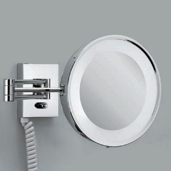 beleuchteter kosmetikspiegel mit stecker und steckdose wohnlicht. Black Bedroom Furniture Sets. Home Design Ideas