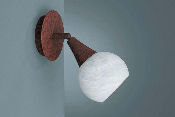 Energiespar Wandspot in rostbraun mit Dekorglas und inkl.Leuchtmittel