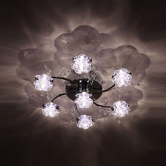 deckenleuchte mit fernbedienung 7 kristall bl ten inklusive leuchtmittel wohnlicht. Black Bedroom Furniture Sets. Home Design Ideas