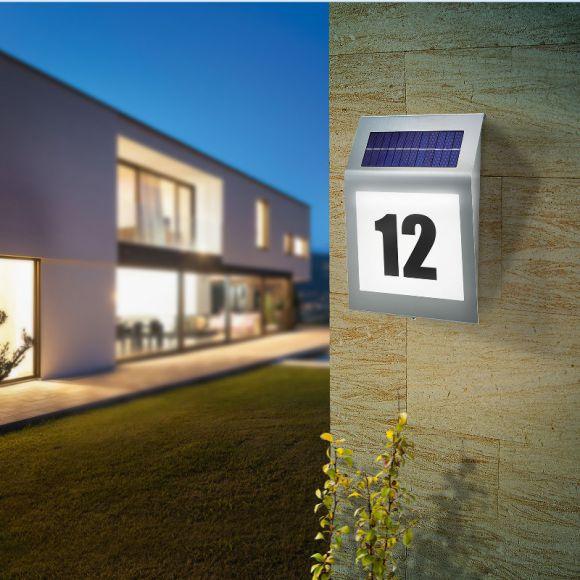 LED-Solar Hausnummernleuchte STYLE im Topdesign mit  ASI Solarmodul