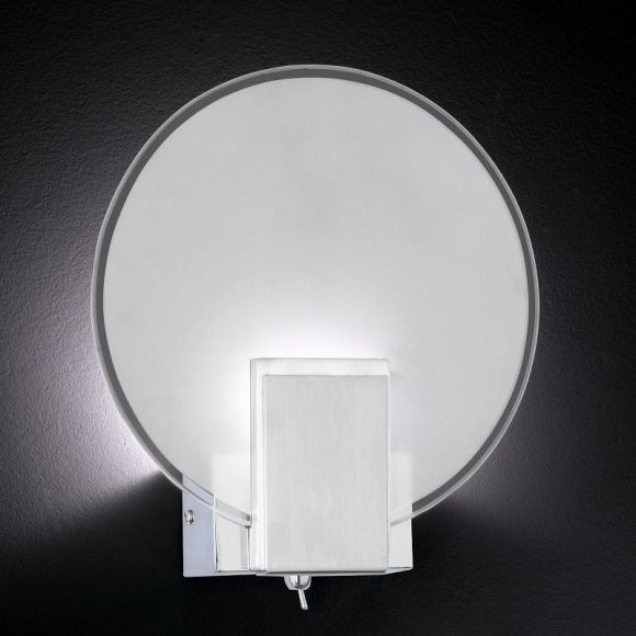 wandleuchte mit power led 1 x 3 5w glas rund wohnlicht. Black Bedroom Furniture Sets. Home Design Ideas
