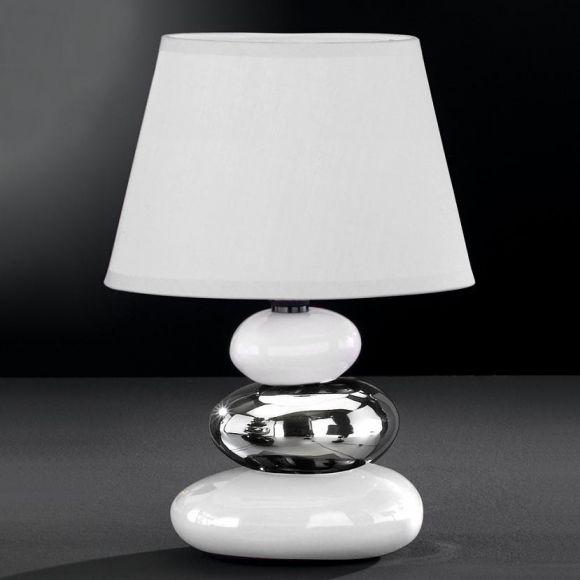 tischleuchte keramik wei silber schirm altwei wohnlicht. Black Bedroom Furniture Sets. Home Design Ideas