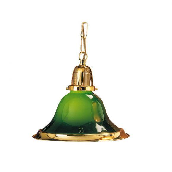 Pendelleuchte im Landhausstil, grünes Glas mit Goldrand, Durchmesser 21,5cm