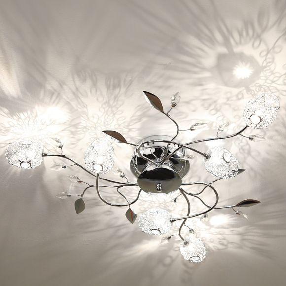 Deckenlampe in Chrom mit Tulpen aus Drahtgeflecht, inklusive Leuchtmittel