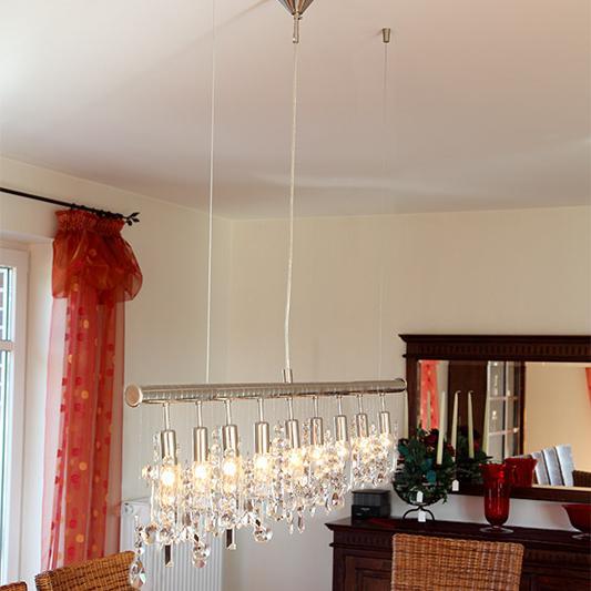 Pendellampe aus Chrom mit 26 Kristallanhängern, 9 flammig