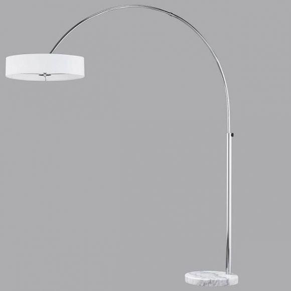 Stilvolle Bogenleuchte mit weißem Stoffschirm Ø 50 cm - Höhe max. 205 cm - weißer Marmorfuß