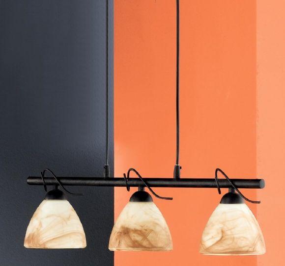 pendelleuchte 3 flammig rostfarbig antik glas wei braun wohnlicht. Black Bedroom Furniture Sets. Home Design Ideas