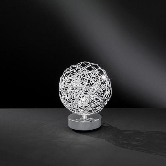 Kugellige Tischleuchte aus Aluminiumdrahtgeflecht - inklusive Leuchtmittel