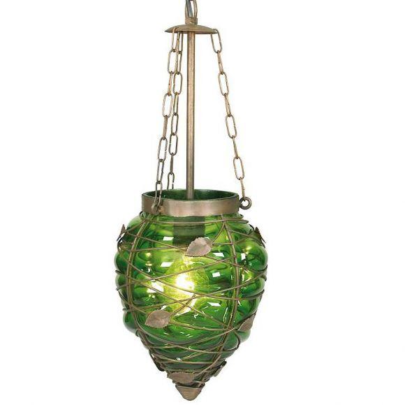 Pendelleuchte in Orient-Optik mit grünem Glas