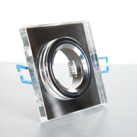 Starrer Halogen-Einbauspot aus Chrom und Glas