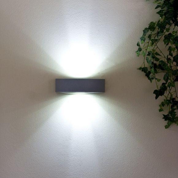 LED-Außenwandleuchte silber lackiert, 2 x LEDs tageslicht 6500K