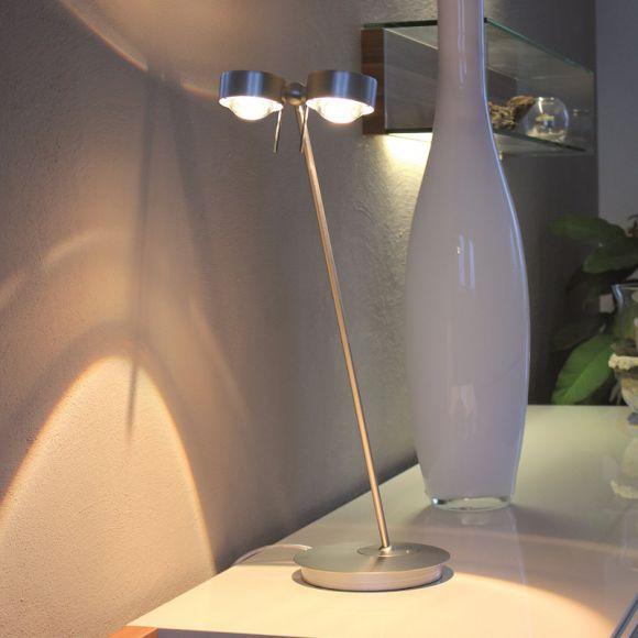 Tischlampe PUK TABLE TWIN - in 3 Oberflächen - 60 cm oder 80 cm Armlänge