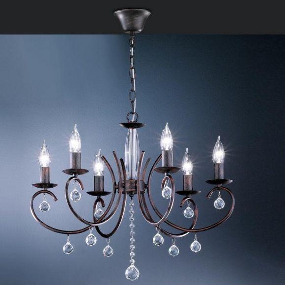 kronleuchter 6 flammig rostfarbig antik mit klarem glasbehang wohnlicht. Black Bedroom Furniture Sets. Home Design Ideas