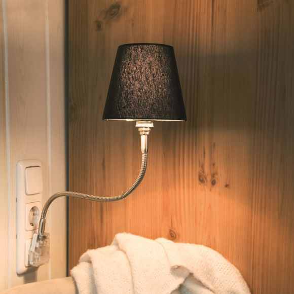 Steckerleuchte Pluglight Flex, mit Silk Schwarz, viele Varianten