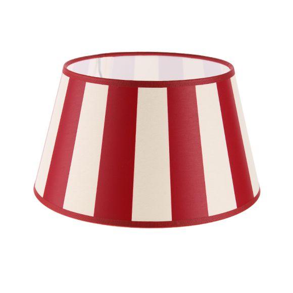 lampenschirm aus stoff in creme mit roten streifen rund 25cm aufnahme e27unten wohnlicht. Black Bedroom Furniture Sets. Home Design Ideas