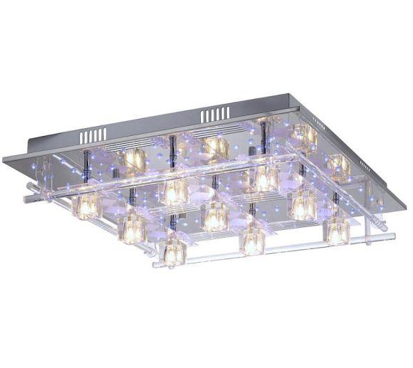 Deckenleuchte mit 92 blauen LEDs und Fernbedienung, Kristallglas klar
