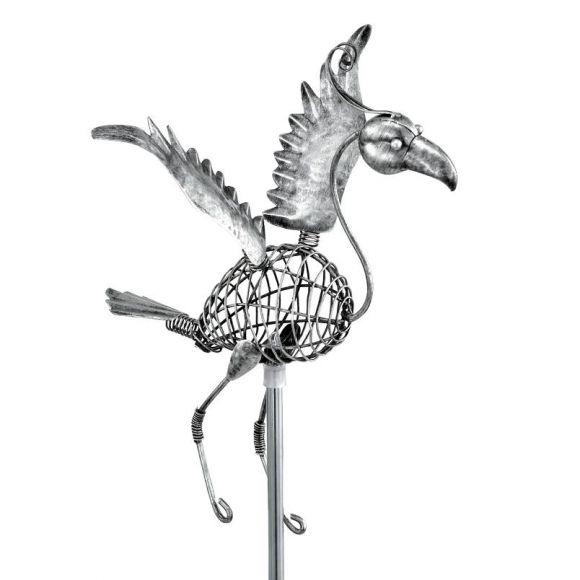 LED-Solarspieß Vogel, Edelstahl und Metall Silber antik