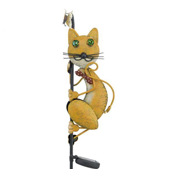 LED-Solarspieß Katze, bunt